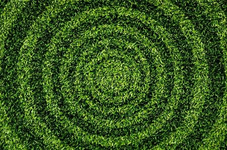 Lawn mowed in circular pattern