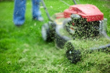 A man mowing lawn with lawnmower