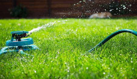 Watering lawn with the water sprinkler